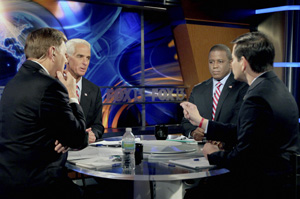 Gov. Charlie Crist, U.S. Rep. Kendrick Meek and Marco Rubio square off in a debate moderated by John Wilson, left, on Oct. 15.