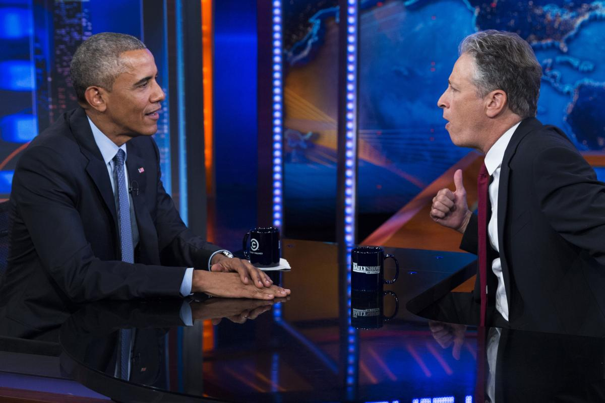 """President Barack Obama, left, talks with Jon Stewart, host of """"The Daily Show"""" during a taping on Tuesday, July 21, 2015, in New York. (AP)"""