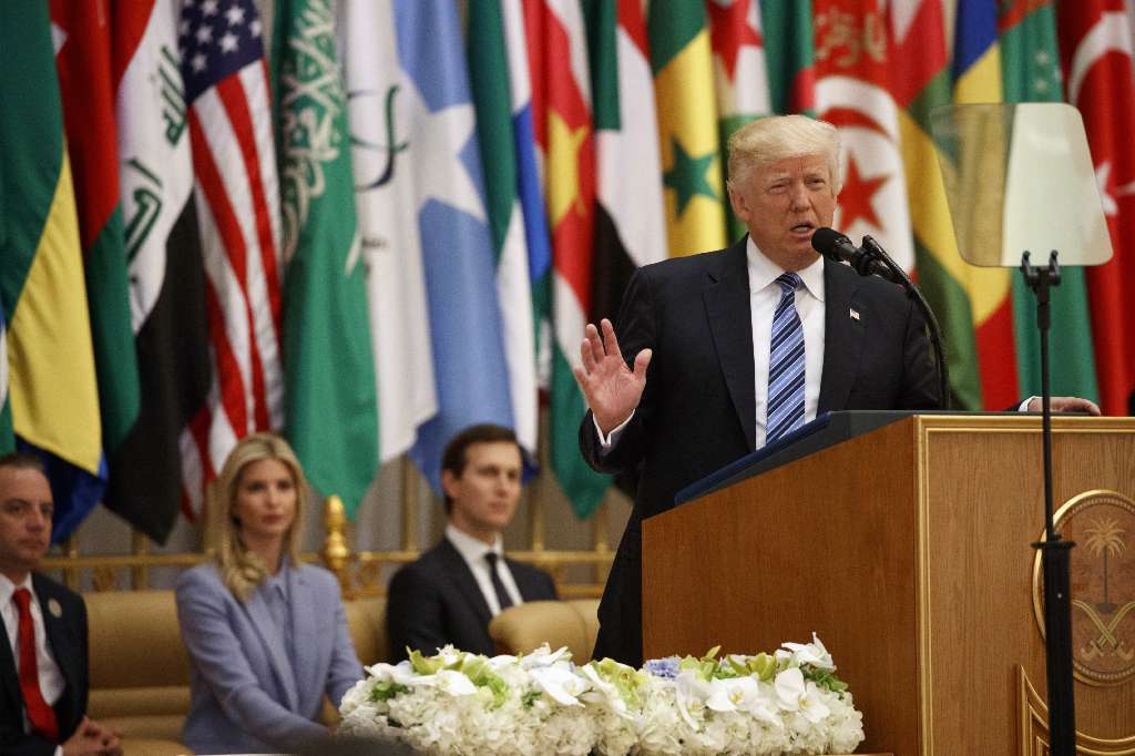 President Donald Trump delivers a speech to the Arab Islamic American Summit, at the King Abdulaziz Conference Center, Sunday, May 21, 2017, in Riyadh, Saudi Arabia. (AP Photo)