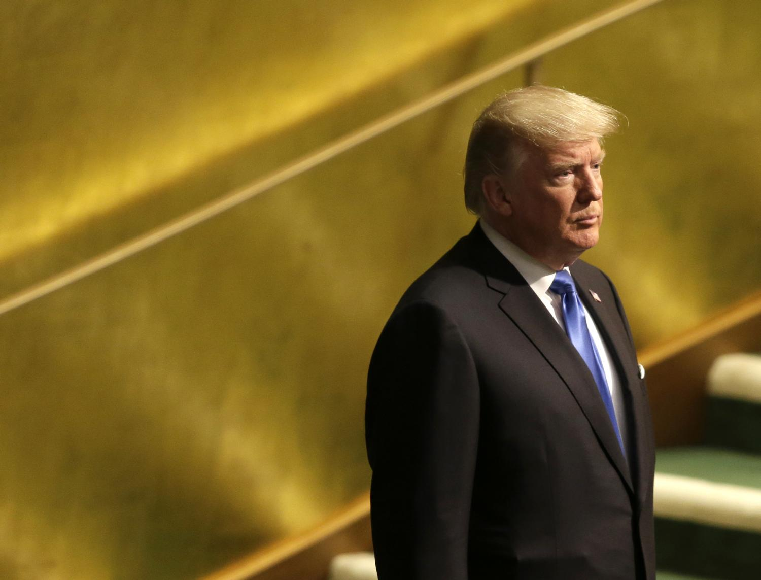 United States President Donald Trump prepares to speak during the United Nations General Assembly at U.N. headquarters Sept. 19, 2017. (AP)