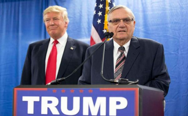 Then-Republican candidate Donald Trump joined Joe Arpaio in Phoenix on Jan. 26, 2016. (AP/Mary Altaffer)