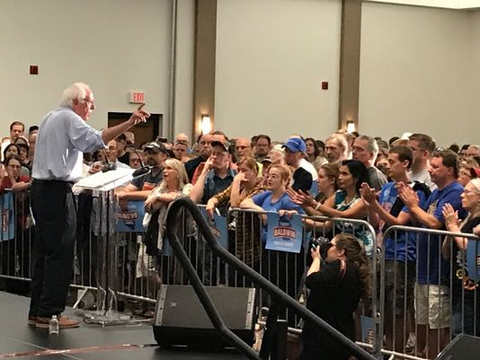 U.S. Sen. Bernie Sanders, I-Vt., campaigned in Eau Claire, Wis., on July 14, 2018 for U.S. Sen. Tammy Baldwin, D-Wis., who is running for a second term in 2018. (Bill Glauber/Milwaukee Journal Sentinel)