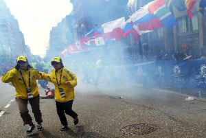 The immediate aftermath of a bombing at the finish line of the Boston Marathon on April 15, 2013. Authorities believe Dzokhar Tsarnaev and his late brother Tamerlan carried out the attack, which killed three and injured scores more.