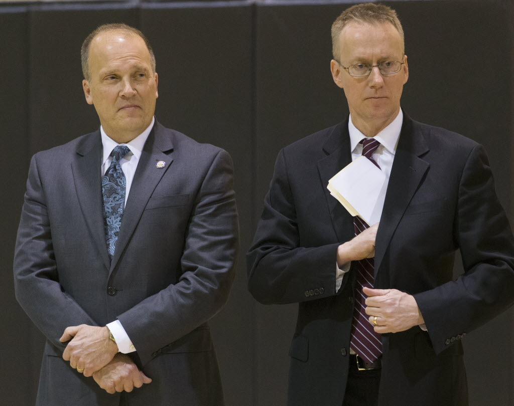 Wisconsin Attorney General Brad Schimel (left) and U.S. Attorney Gregory J. Haanstad in February 2016 announced the selection of Milwaukee as a pilot city for a new strategy to fight prescription opioid misuse. (Mark Hoffman/Milwaukee Journal Sentinel)