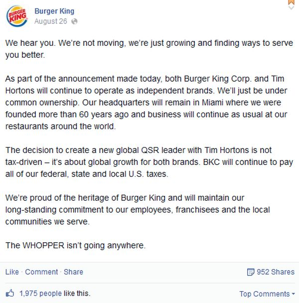 Burger King Says It S Not Moving And Will Continue To Pay