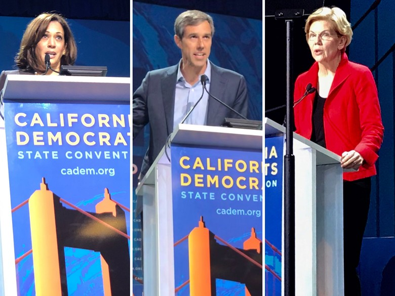 A few of the presidential candidates speaking at the 2019 California Democratic Convention in San Francisco / Photo graphic by Capital Public Radio