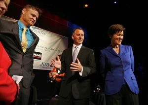 Candidates for Congress in Pinellas County, Florida, appear at a Feb. 25 debate. From left are Libertarian Lucas Overby, Republican David Jolly and Democrat Alex Sink.