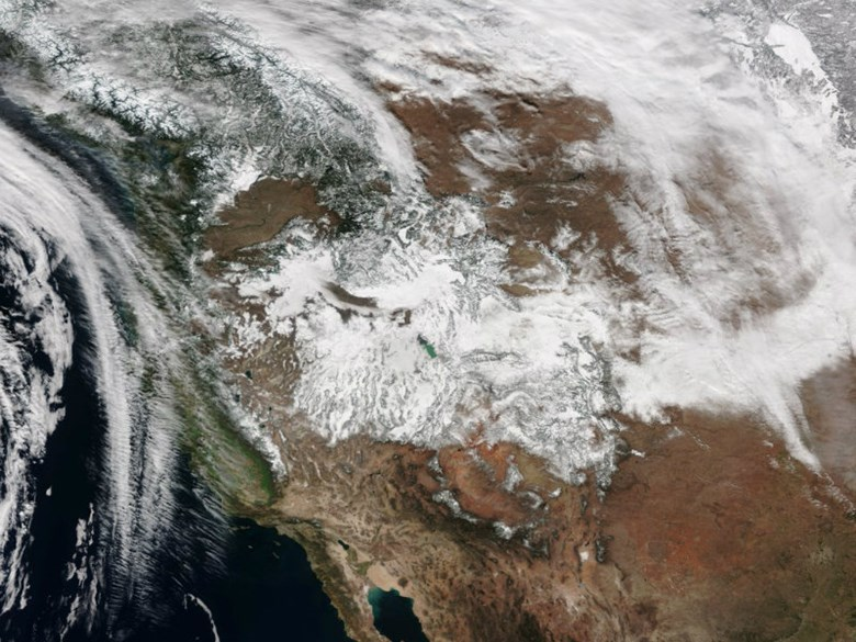 January brought abundant snow to the Sierra Nevada, but February has been mostly dry. A view of true-color imagery of the snow covering the Western U.S. from NOAA Satellite and Information Service. NOAA / Courtesy