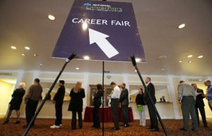 A line forms at a career fair in San Jose, Calif. The federal jobs report released on July 8, 2011, offered only grim numbers to Americans hoping for signs of a sustained recovery.