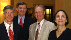 Then-U.S. Ambassador William Taylor,  Akhmetov lawyer Mark MacDougall,  Lincoln Chafee and Toby Trister Gati, former U.S. Assistant Secretary of State for Intelligence and Research, in Ukraine in 2007 / Photo courtesty Mark MacDougall