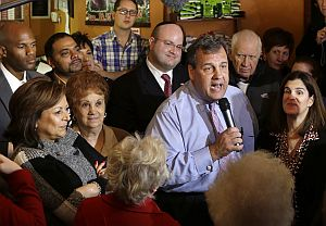 New Jersey Gov. Chris Christie greets supporters during a campaign stop in Hillside, N.J., on Nov. 3, 2013. (AP Photo)