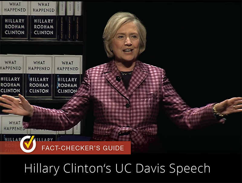 Hillary Clinton spoke at UC Davis on Oct. 9, 2017 as part of her tour promoting What Happened, her memoir of the 2016 election. Photo courtesy UC Davis.