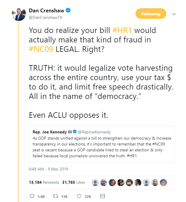 Crenshaw falsely says HR1 would legalize the type of election fraud