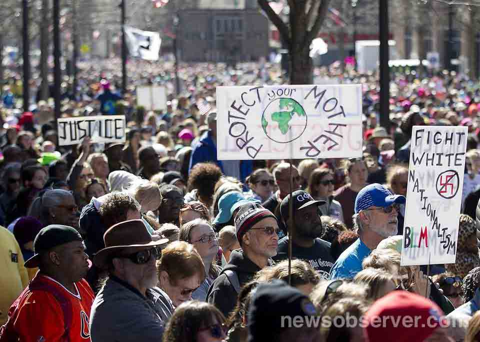 A shot of the crowd on Fayetteville Street during the HKonJ march in Raleigh, Feb. 11, 2017. News & Observer photo.