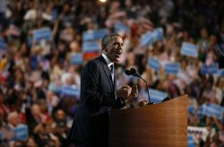 President Barack Obama speaks Thursday night at the Democratic National Convention in Charlotte, N.C.
