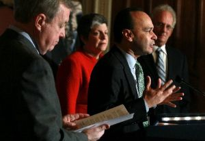 U.S. Rep. Luis Gutierrez, D-Ill.,  makes a pitch for the Development, Relief and Education for Alien Minors Act, also known as DREAM Act, at a press conference on Capitol Hill December 8, 2010.