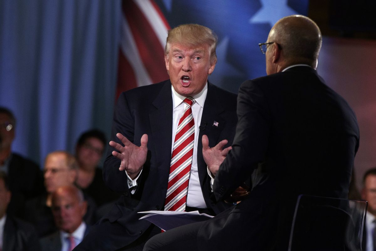 Republican presidential candidate Donald Trump speaks with 'Today' show co-anchor Matt Lauer at the NBC Commander-In-Chief Forum held at the Intrepid Sea, Air and Space museum aboard the decommissioned aircraft carrier Intrepid, New York. (AP)