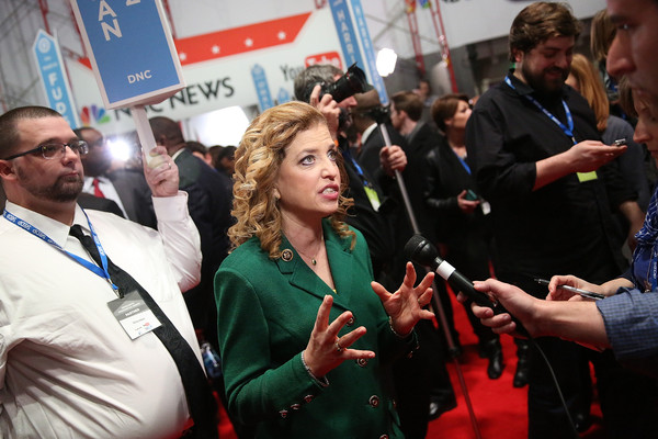 Democratic National Committee chair Debbie Wasserman Schultz, in the spin room after the Jan. 17 debate in Charleston, has faced questions about the Democrats' debate schedule (Getty).