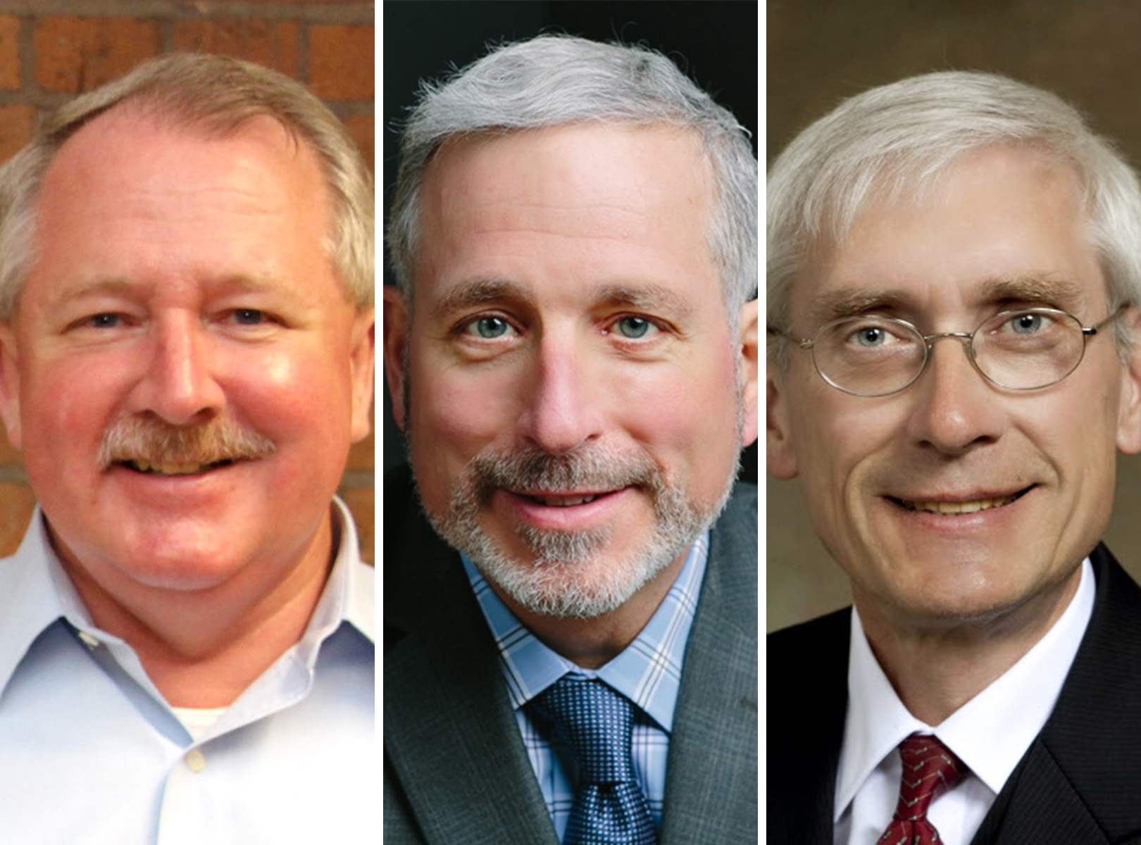 Three leading Democratic candidates for governor have criticized Walker for the deal he is pitching for a Foxconn manufacturing plant. From left, state Rep. Dana Wachs, businessman Andy Gronik, state schools superintendent Tony Evers.