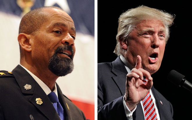 Ex-Milwaukee County Sheriff David A. Clarke Jr. (left) has been a staunch supporter of President Donald Trump.