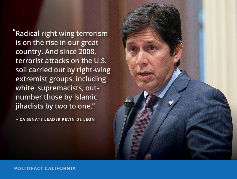California State Senate Leader Kevin de León made some bold claims about the rise of radical right wing terrorism following a deadly white supremacist attack in Charlottesville. / AP file photo