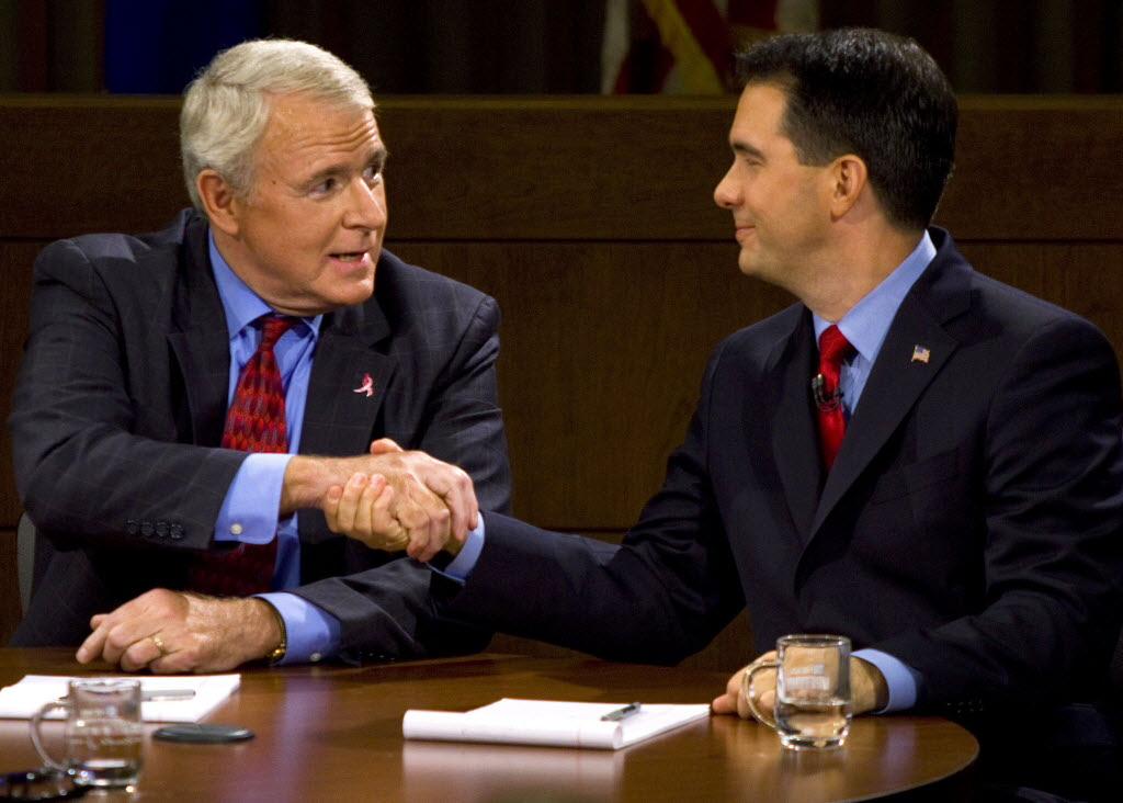 Democrat Tom Barrett and Republican Scott Walker at a recent debate