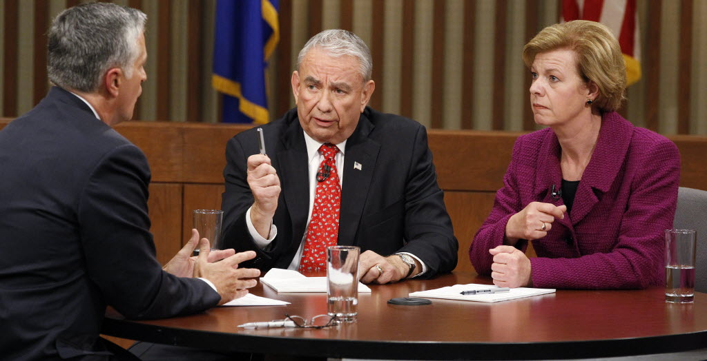 Republican U.S. Senate candidate Tommy Thompson and Democratic rival Tammy Baldwin squared off Oct. 26, 2012 in their final debate.