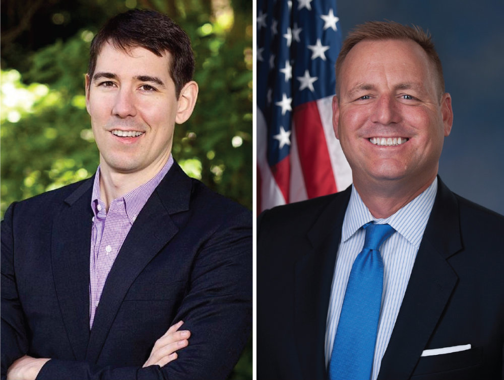 Democrat Josh Harder (left) is running for California's 10th Congressional District against incumbent Republican Rep. Jeff Denham in one of the state's most competitive campaigns.