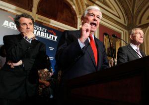 Democratic senators discuss financial regulation. From left, Sen. Sherrod Brown of Ohio, Sen. Chris Dodd of Connecticut, Sen. Harry Reid of Nevada.