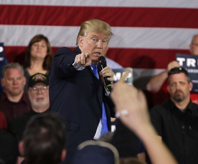 Republican presidential contender Donald Trump campaigned during a rally in Janesville, Wis., on March 29, 2016. (Rick Wood photo)