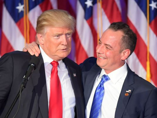 President-elect Donald Trump, shown here on election night 2016 with Reince Priebus, has named Priebus his chief of staff. (Getty Images)