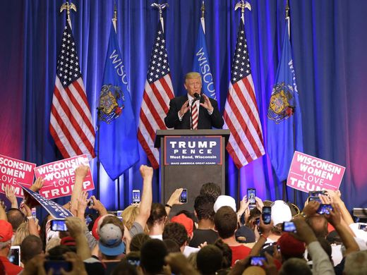 Donald Trump campaigned in West Bend, Wis., on Aug. 16, 2016. (Rick Wood photo)