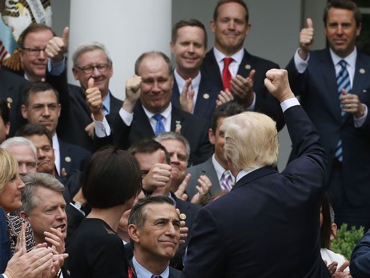 President Donald Trump congratulated House Republicans for passing a replacement for Obamacare. (Mark Wilson/Getty Images)