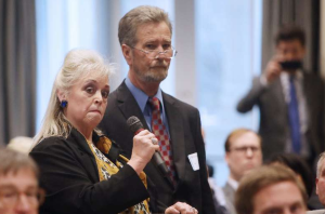 Cynthia Singletary, left, says her client, McCrae Dowless, will not testify without immunity during the public evidentiary hearing on the 9th Congressional District investigation Feb. 18.