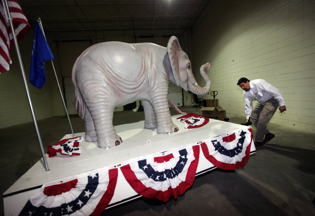 The Republican Party of Waukesha County, in suburban Milwaukee, used this float in a training room in January 2012.