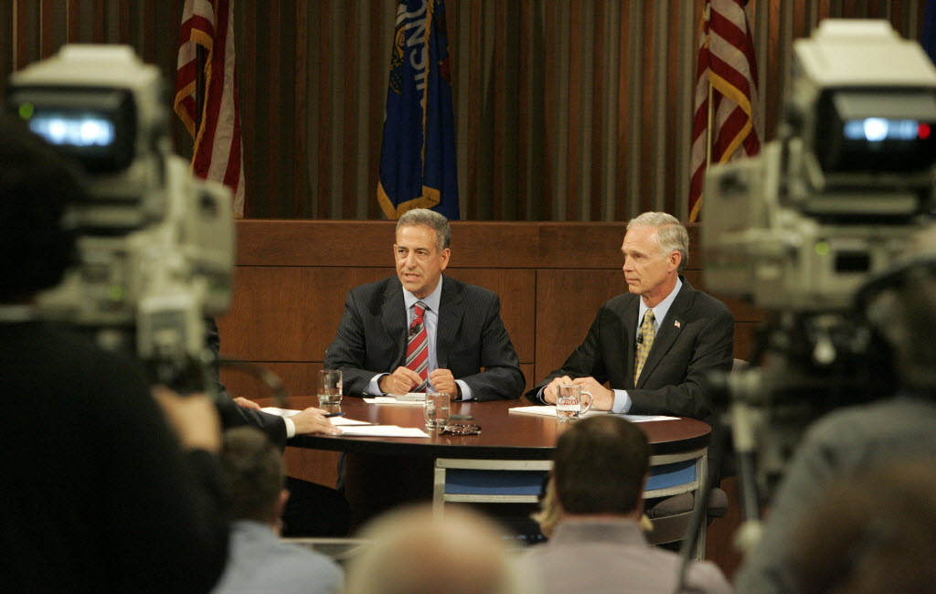 Democrat Russ Feingold (left) has announced a 2016 U.S. Senate run against the man who ousted him in 2010, U.S. Sen. Ron Johnson (right). They are shown in this Milwaukee Journal Sentinel file photo at a 2010 debate.