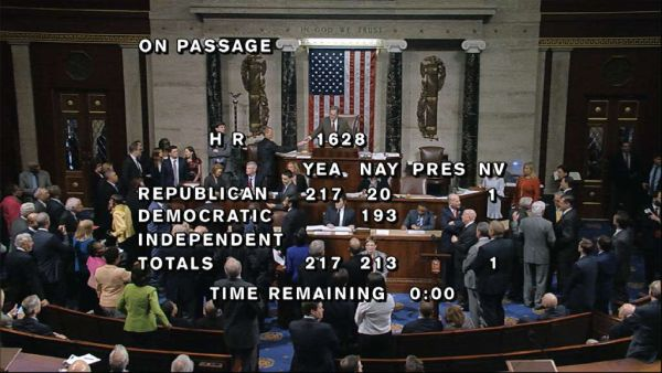 The final vote on the Republicans health care bill is displayed over a feed of the House floor on May 4, 2017. (House Television via AP)
