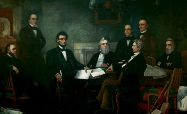 """First Reading of the Emancipation Proclamation of President Lincoln,"" by Francis Bicknell Carpenter, with Lincoln cabinet members Edwin Stanton, Salmon P. Chase, Gideon Welles, Caleb Blood Smith, William Seward, Montgomery Blair, and Edward Bates."