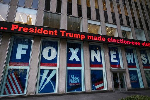 A headline is shown outside Fox News studios on Nov. 28, 2018, in New York. (AP/Lennihan)