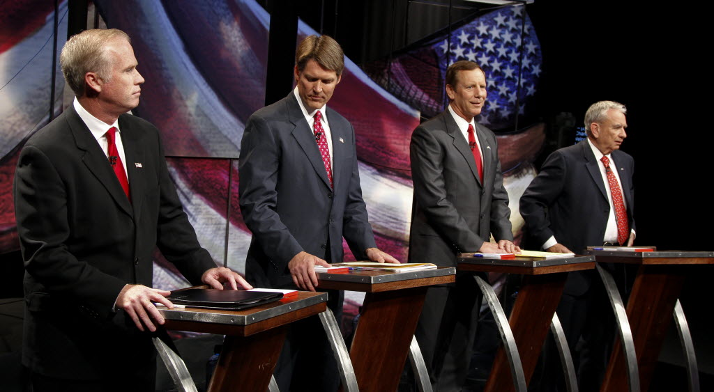 Republican U.S. Senate hopefuls Jeff Fitzgerald, Eric Hovde, Mark Neumann and Tommy Thompson prepare for their final debate.