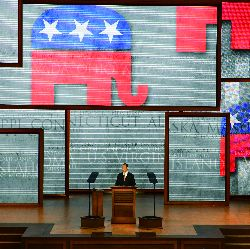 RNC chairman Reince Priebus calls to order the Republican National Convention on Monday at the Tampa Bay Times Forum in Tampa, Florida.