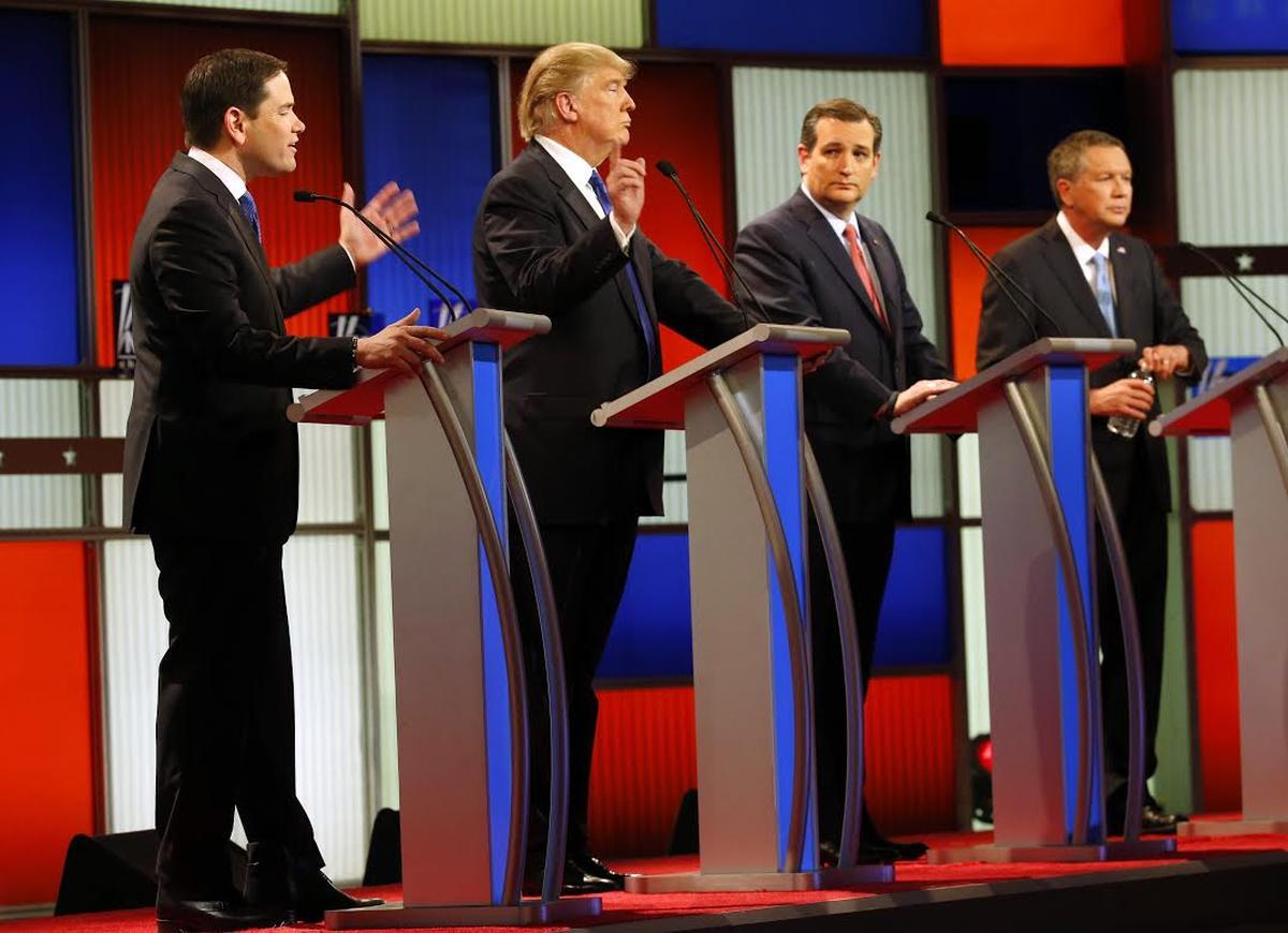 Republican presidential candidates Marco Rubio, Donald Trump, Ted Cruz and John Kasich debate on March 3 in Detroit. (AP)