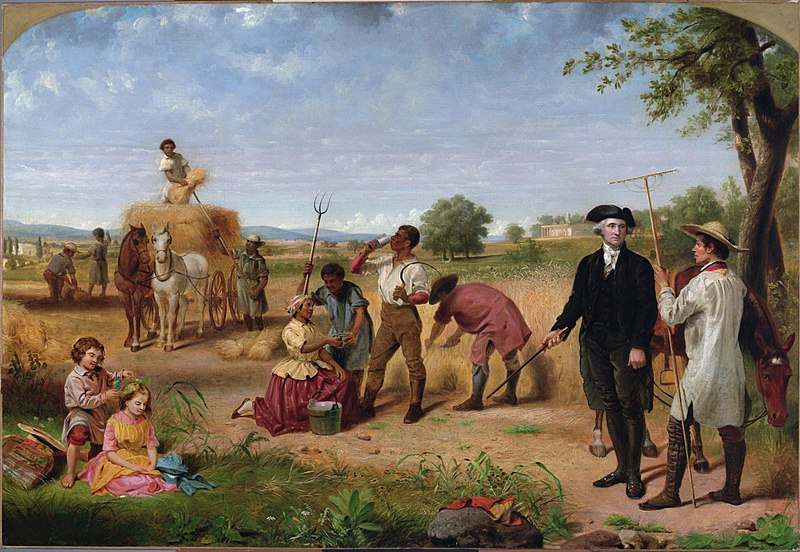 """Washington as Farmer at Mount Vernon,"" part of a series by Junius Brutus Stearns, 1851"