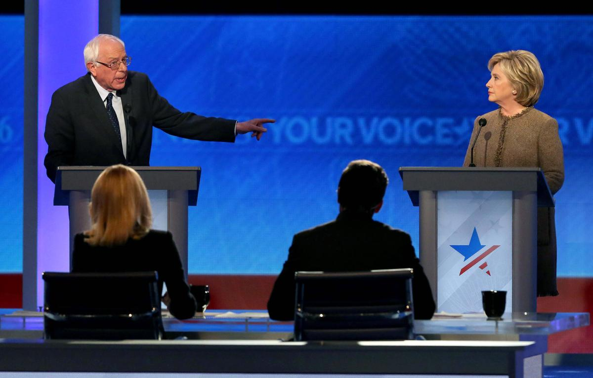 Bernie Sanders and Hillary Clinton debate in New Hampshire. (Getty)