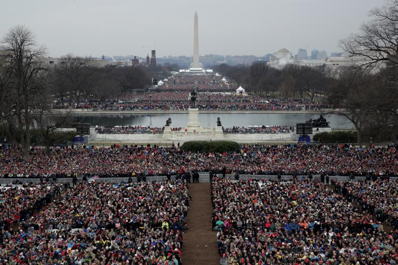 Spectators fill the National Mall in front of the U.S. Capitol on January 20, 2017 in Washington, DC. In today's inauguration ceremony Donald J. Trump becomes the 45th president of the United States. (Photo by Alex Wong/Getty Images)