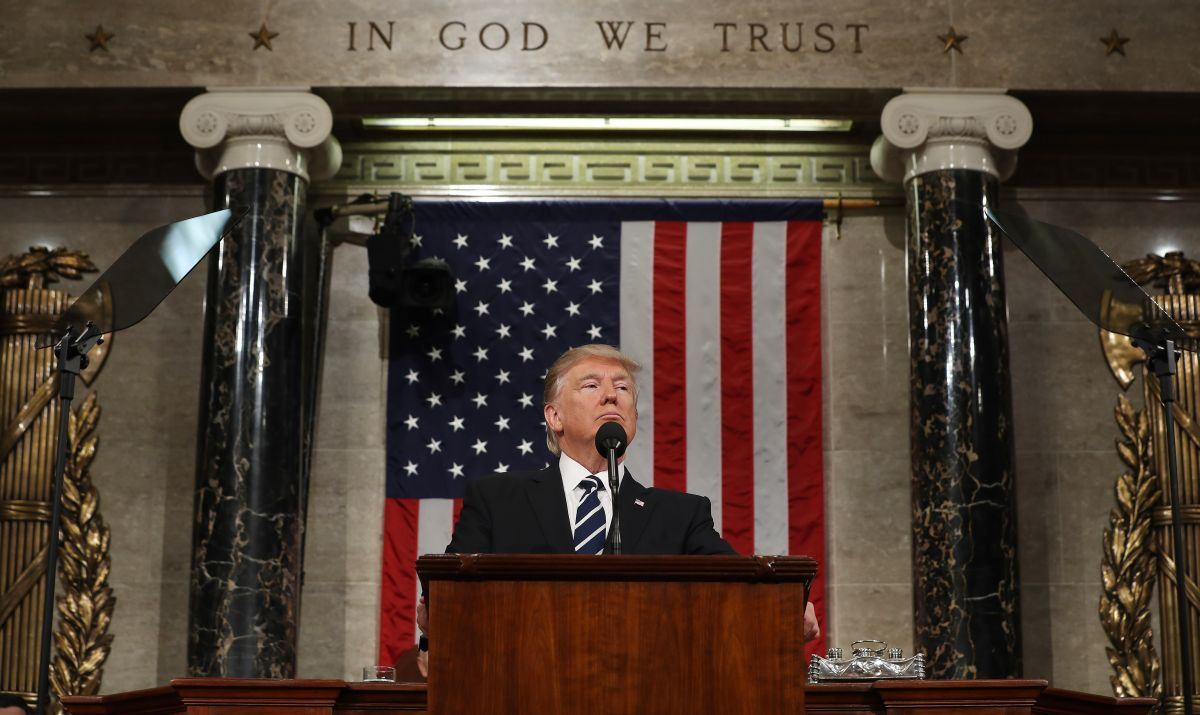 President Donald Trump addresses a joint session of Congress on Feb. 28 in the House chamber of the U.S. Capitol. (Photo by Jim Lo Scalzo - Pool/Getty Images)