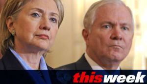 The guests on the show included Secretary of State Hillary Clinton and Defense Secretary Robert Gates.