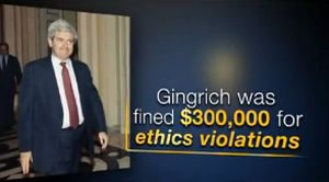 """The pro-Mitt Romney Super PAC Restore Our Future accused Newt Gingrich of being """"fined"""" $300,000 for an ethics violation in the 1990s. We checked -- and rechecked -- the claim."""