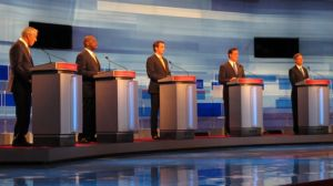 Five Republican presidential candidates met for a debate on May 5, 2011, in Greenville, S.C.