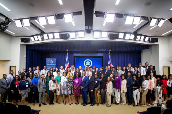 Education Secretary Betsy DeVos takes a photograph with students from historically black colleges and universities during a White House summit on Sept. 18, 2017. (AP/Andrew Harnik)